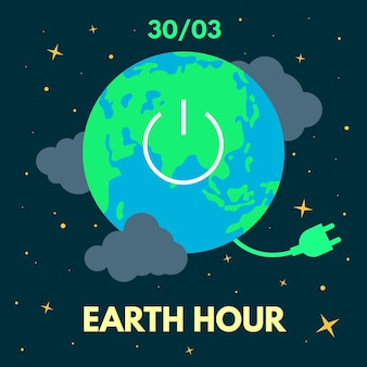 Erdstundenillustration mit planet und netzkabel