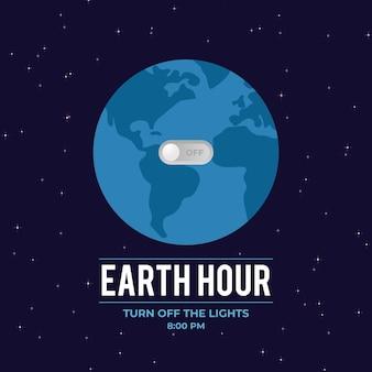 Erdstundenillustration mit planet und schalter