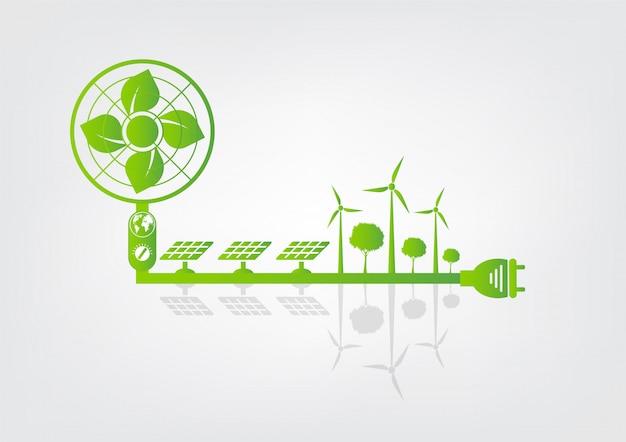 Erdsymbol mit grünen blättern um städte helfen der welt mit umweltfreundlichen ideen