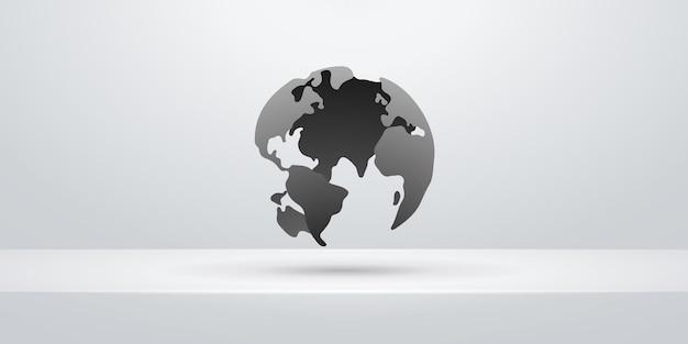 Erdweltkartenentwurf über weißem regalhintergrund. illustration