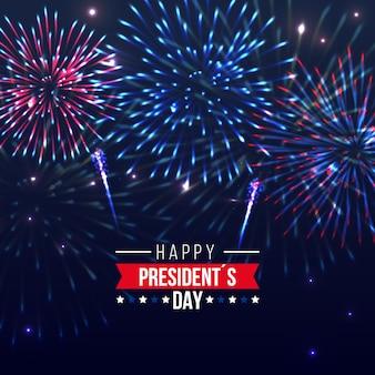 Ereignisfeier präsidenten day mit feuerwerkskonzept