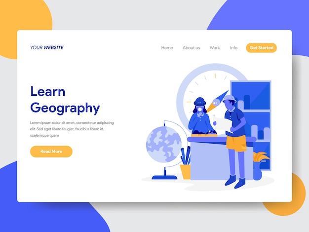 Erfahren sie geographie-illustration für webseiten