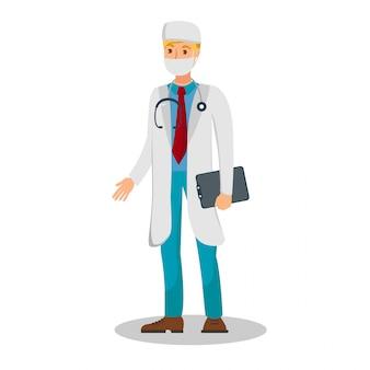 Erfahrener doktor flat color vector illustration