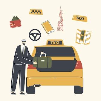 Erfahrener fahrercharakter, der uniform trägt und passagiergepäck zum auto lädt