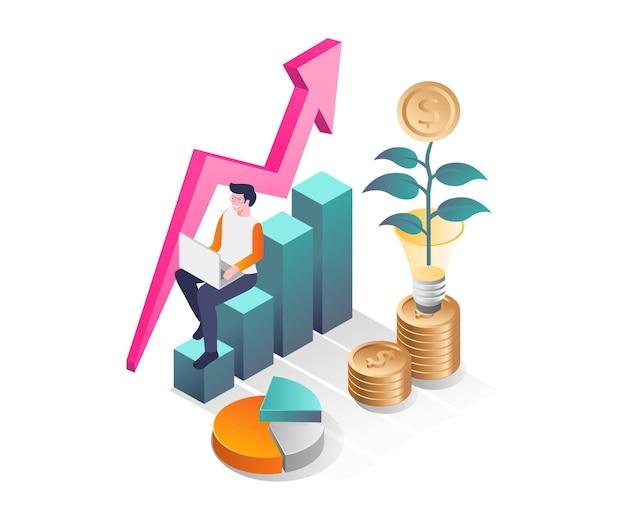 Erfolg bei der investition von geschäftsgeldern in isometrisches design