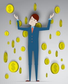 Erfolg des jungen geschäftsmannes mit münzenhintergrund in der illustration des vektors 3d