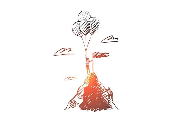 Erfolg, gewinn, berg, geschäft, leistungskonzept. hand gezeichneter gewinner oben auf bergkonzeptskizze.