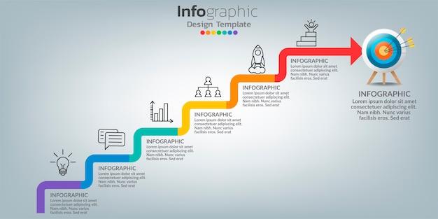 Erfolg infografik vorlage mit treppenstufen gebäude.