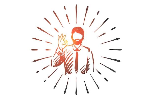 Erfolg, ok, geschäftsmann, geste, symbolkonzept. hand gezeichneter geschäftsmann zeigt geste ok konzeptskizze.