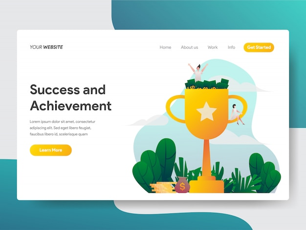 Erfolg und leistung für website-seite