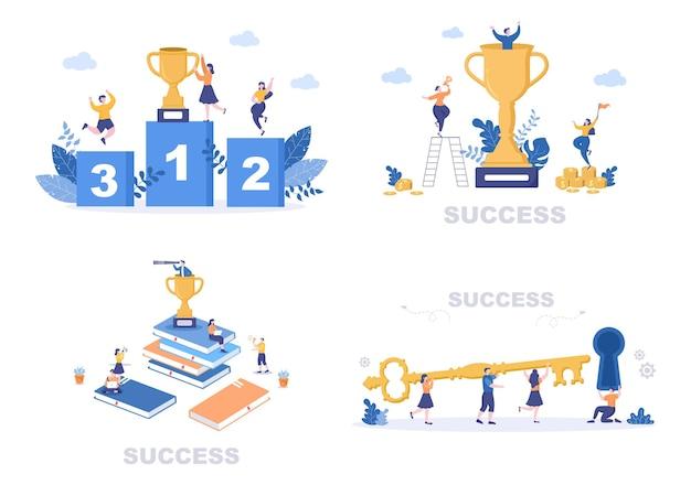 Erfolg-vektor-illustration der zielerreichung
