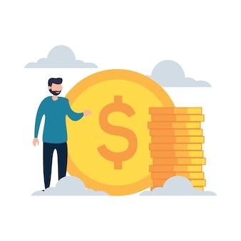 Erfolgreich mit flacher karikaturart der dollar-münzen-darstellung