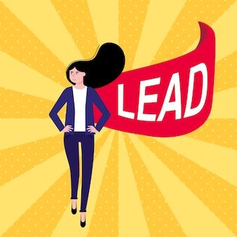 Erfolgreiche frauenführerin geschäftsfrau in anzug und rotem umhang mit lead-text