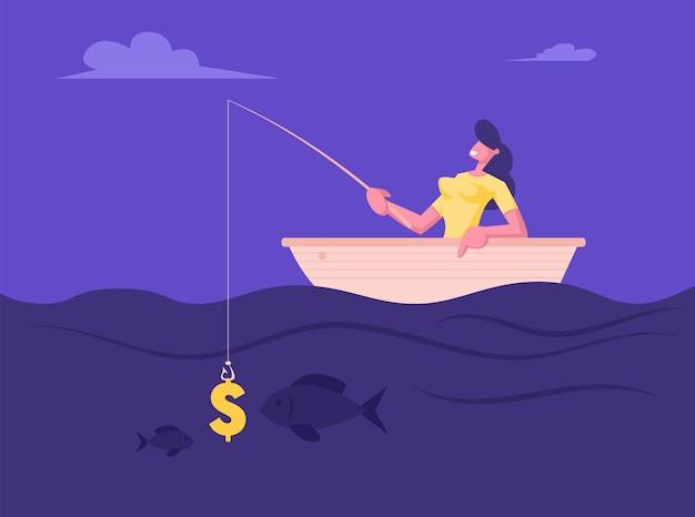 Erfolgreiche geschäftsfrau, die guten fang beim fischen im boot hat