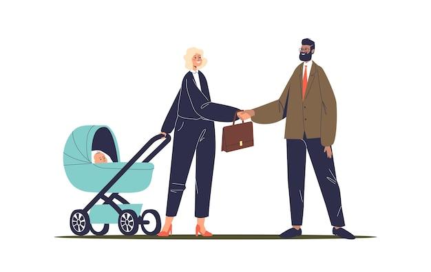 Erfolgreiche geschäftsfrau mit kinderwagen treffen mit geschäftspartnern. glückliche mutter mit kind bei der arbeit. wahl zwischen familien- und berufskonzept. flache illustration