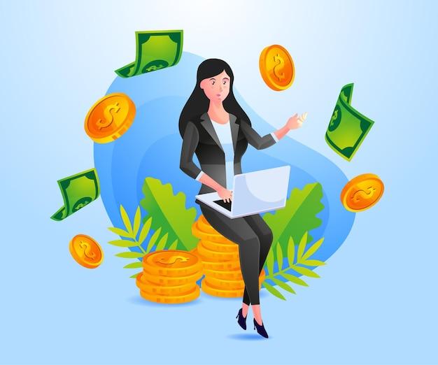 Erfolgreiche geschäftsfrau verdient viel geld
