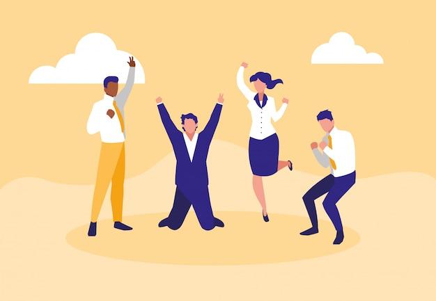 Erfolgreiche geschäftsleute, die charaktere feiern