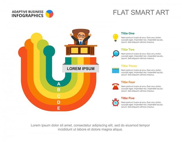 Erfolgreiche geschäftsmann dia-vorlage. diagramm. kreatives konzept für infografik, bericht.