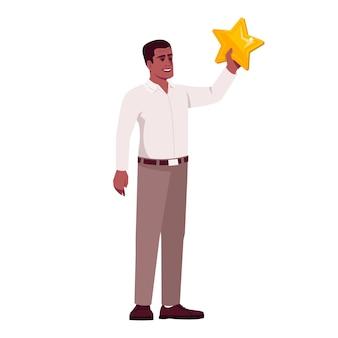 Erfolgreiche startup-geschäftsinhaber halbflache rgb-farbvektorillustration. chef, der goldenen stern hält, lokalisierte zeichentrickfilm-figur auf weißem hintergrund. kreativer ansatz und mutige geschäftsideen