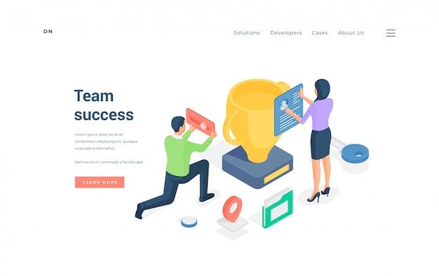 Erfolgreiche teammitglieder arbeiten zusammen. illustration