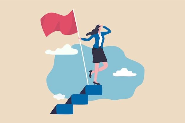 Erfolgreiche unternehmerin, frauenführung oder herausforderungs- und leistungskonzept, erfolgsgeschäftsfrau auf der karrieretreppe, die gewinnerflagge hält, die nach einem zukünftigen visionär sucht