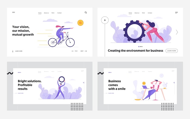 Erfolgreiche zusammenarbeit ambitionierte innovation business concept landing page