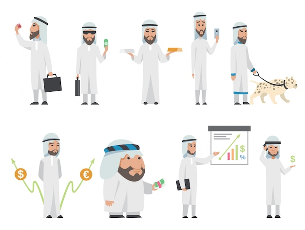 Erfolgreicher arabischer mann in weißer kleidung. cartoon lächelnd islamischen geschäftsmann in traditioneller kleidung gekleidet. mann mit diagrammen, tier, tasche, smartphone, gold-silber, diamant, dollar, euro