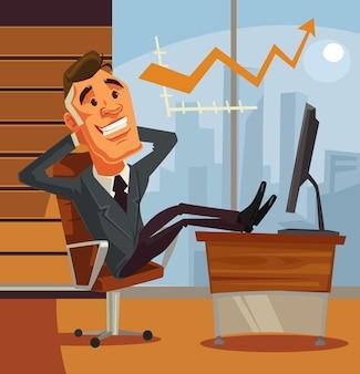 Erfolgreicher entspannender geschäftsmann, der mit seinen füßen auf flacher karikaturillustration des schreibtisches sitzt
