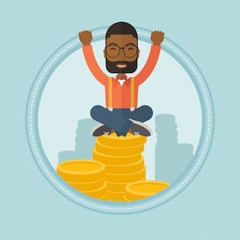 Erfolgreicher finanzier, der auf goldenen münzen sitzt