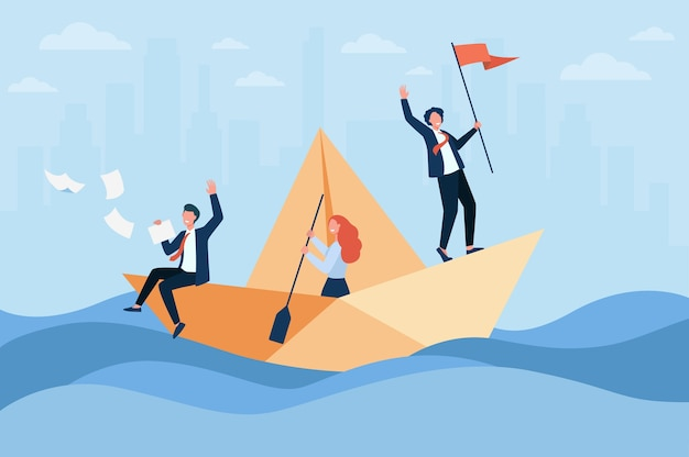 Erfolgreicher geschäftsleiter mit flaggensegelboot, sein team mit paddel. kollegen und chefs reisen im meer der möglichkeiten.