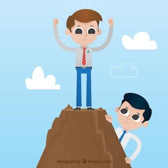 Erfolgreicher geschäftsmann auf dem gipfel eines berges