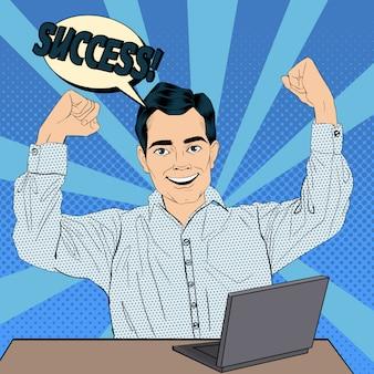 Erfolgreicher geschäftsmann bei der arbeit mit laptop. vektorabbildung im knall art style