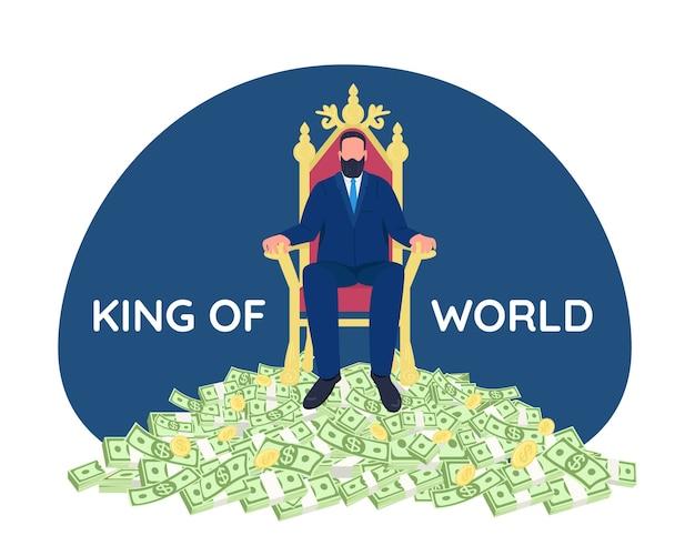 Erfolgreicher geschäftsmann, der auf thron 2d-webbanner, plakat sitzt. könig der welt phrase. tycoon flacher charakter auf karikaturhintergrund. druckbarer patch der reichen person, buntes webelement