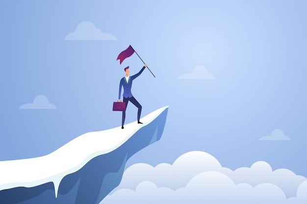Erfolgreicher geschäftsmann, der eine flagge auf spitzenberg hält. symbol des erfolgs, des leistungssiegs, der spitzenkarriere und der flachen illustration der führung