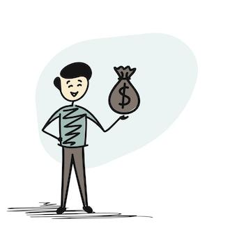 Erfolgreicher geschäftsmann, der geldbeutel hält, lokalisierte vektorillustration des karikaturskizzenkonzeptes.