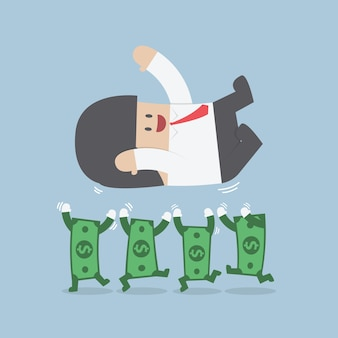 Erfolgreicher geschäftsmann, der oben durch dollarschein wirft
