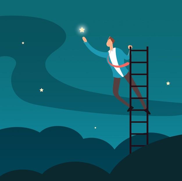 Erfolgreicher geschäftsmann, der stern erreicht. mann, der zu den sternen klettert. geschäfts- und karriereerfolgsvektorkonzept