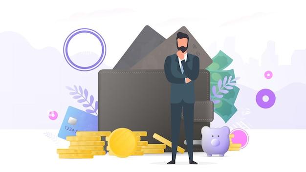 Erfolgreicher geschäftsmann. große brieftasche, kreditkarte, goldmünzen, dollar. konzept von gewinn, cashback oder reichtum. banner zum thema finanzen. vektor.