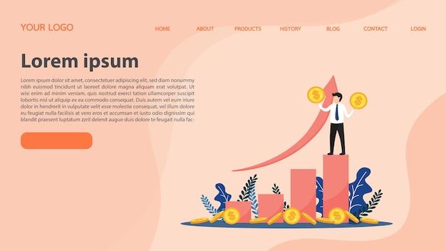 Erfolgreicher geschäftsmann hält die münze auf grafik. auf dem weg zum erfolg. positives denken und erfolg. landing page