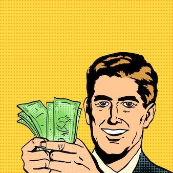 Erfolgreicher geschäftsmann hält geld in händen