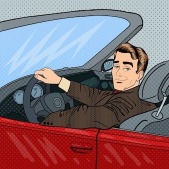 Erfolgreicher geschäftsmann im luxusauto. mann, der ein cabriolet fährt. pop-art.
