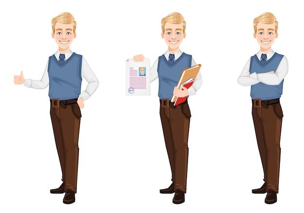 Erfolgreicher geschäftsmann in büroartkleidung