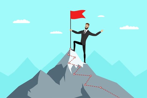 Erfolgreicher geschäftsmann mit roter flagge auf dem berggipfel geschäftsmann, der auf die oberste karriereleiter klettert