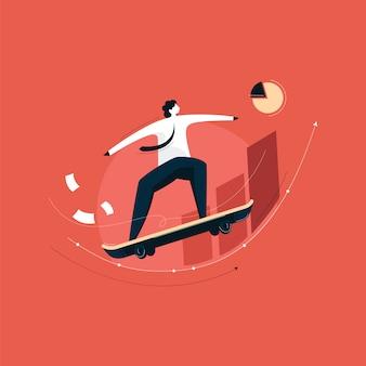 Erfolgreicher geschäftsmann mit skateboard und wachstumschart