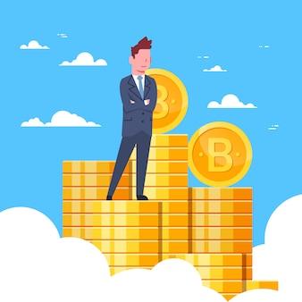 Erfolgreicher geschäftsmann standing at bitcoins-stapel-krypto-währungsförderung und handelstechnologie-konzept