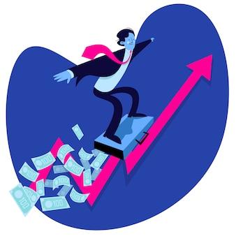 Erfolgreicher geschäftsmann surft über geld auf einem diagramm