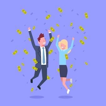 Erfolgreicher geschäftsmann und frau springen werfendes geld rich businessman and businesswoman financial success concept