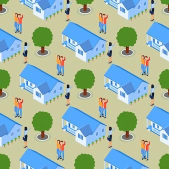 Erfolgreicher grundstücksmakler real estate seamless pattern.