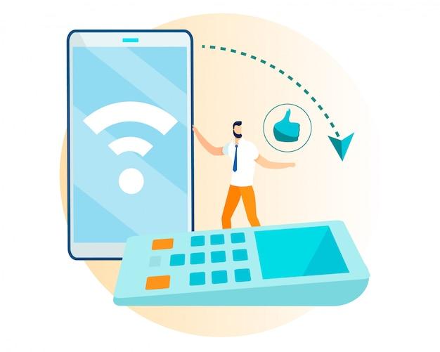 Erfolgreicher kauf über telefon und kassenterminal