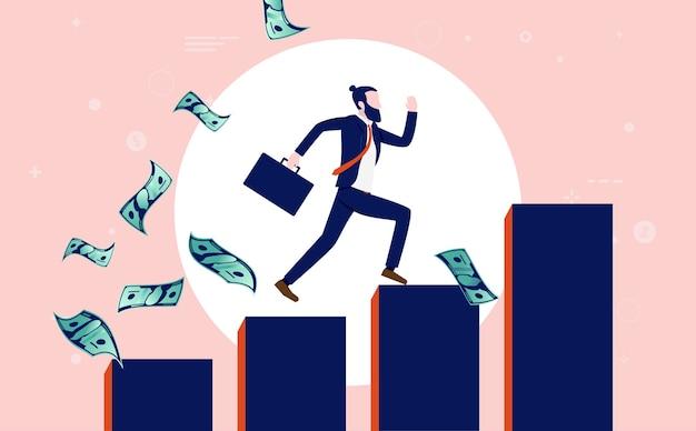 Erfolgreicher moderner geschäftsmann mit aktentasche, die eine steigende grafik hochläuft, während geld herumfliegt